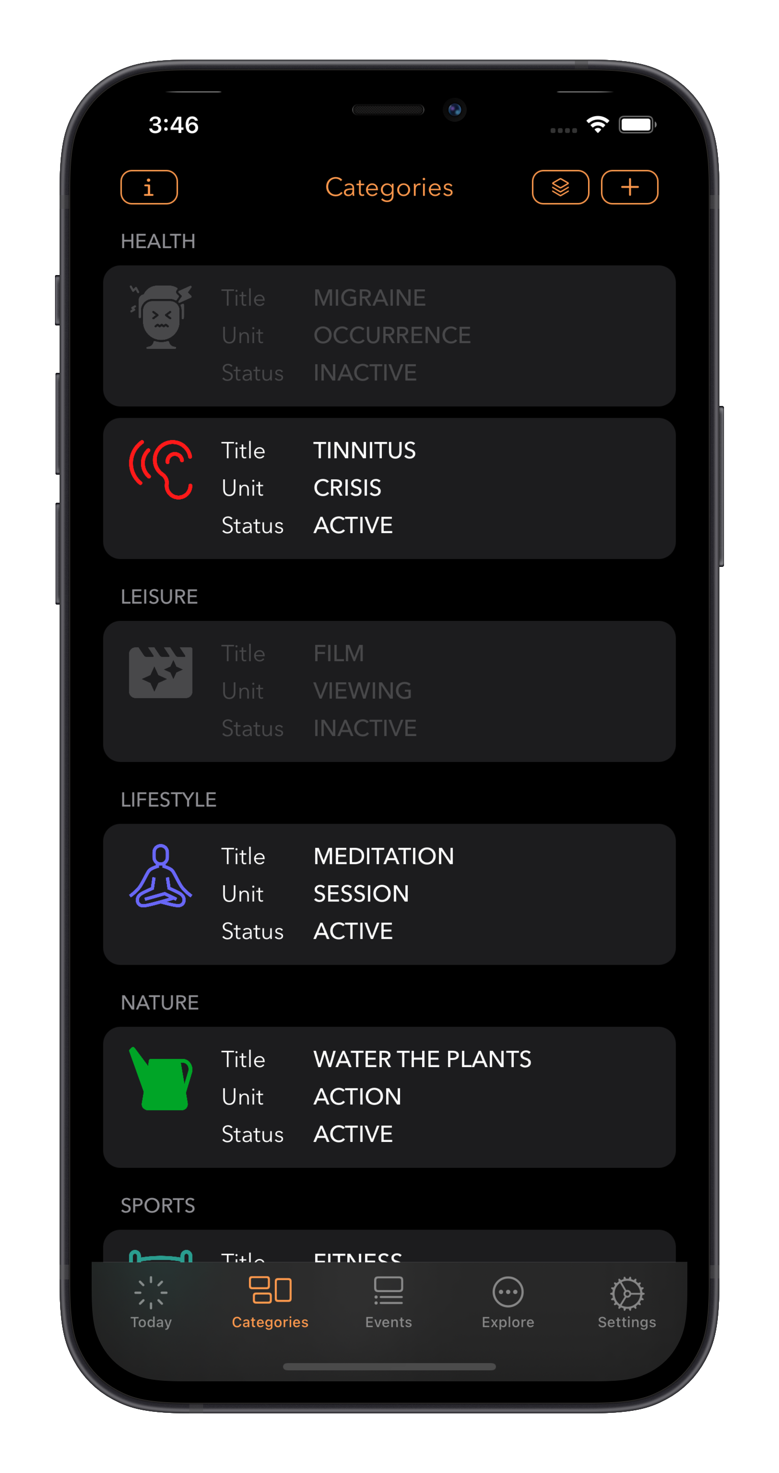 Log A Day categories listed by group