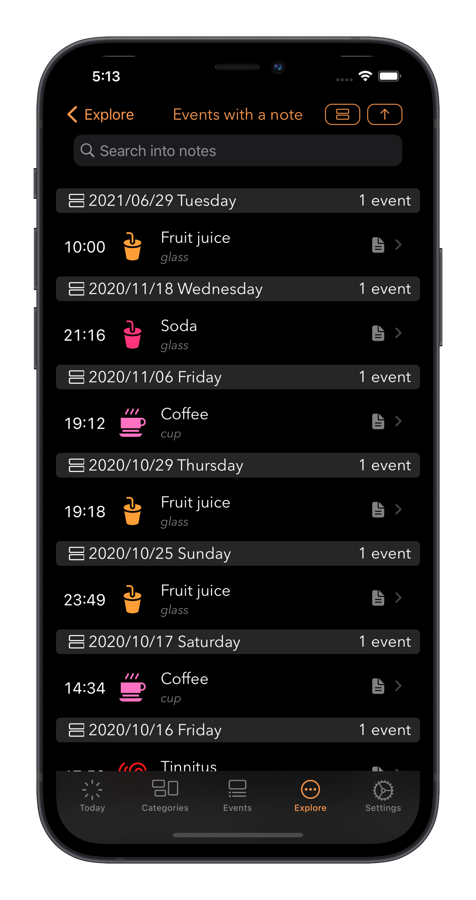 Log A Day search into events notes