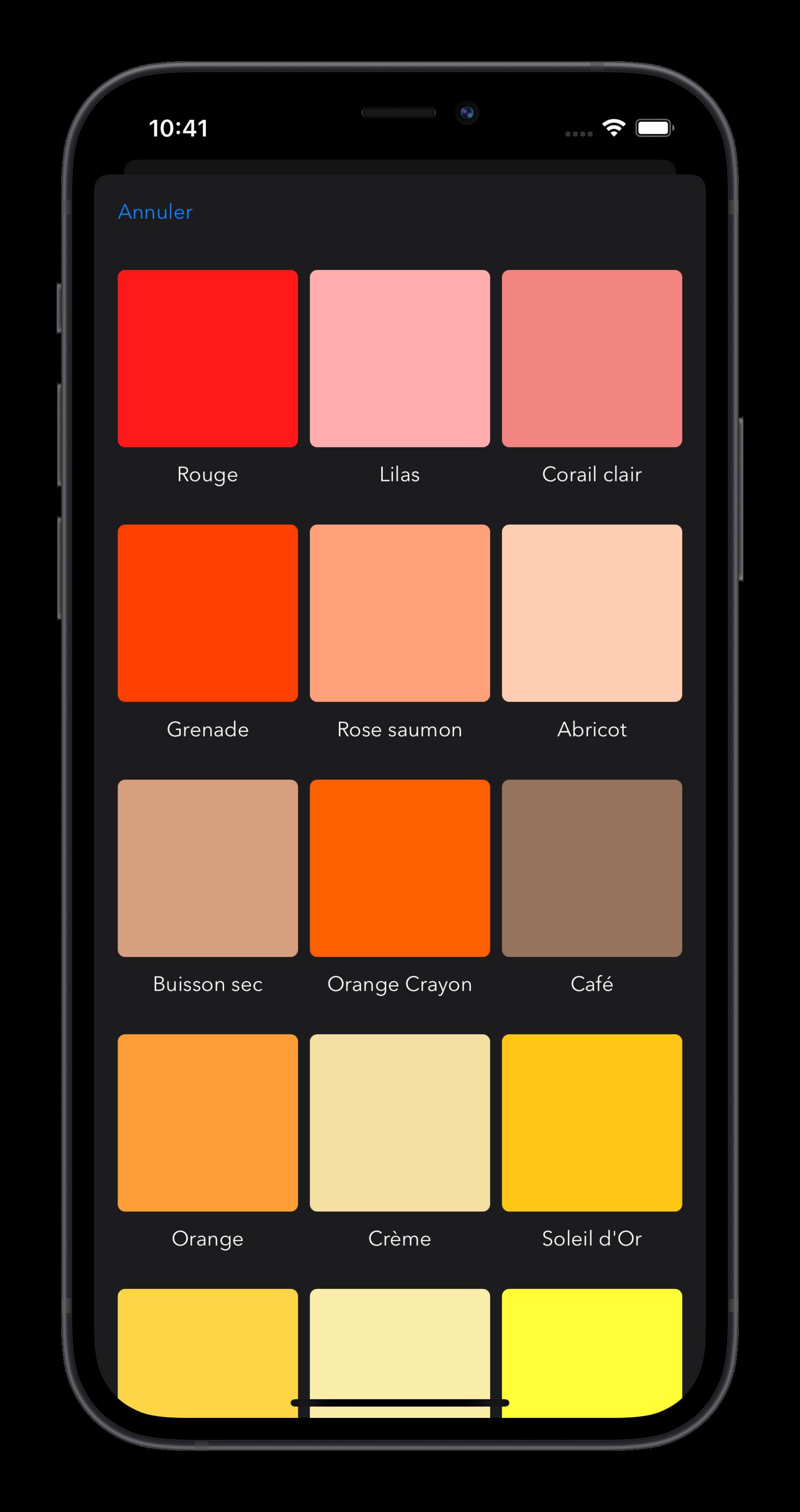 Actions Du Jour choisir une couleur