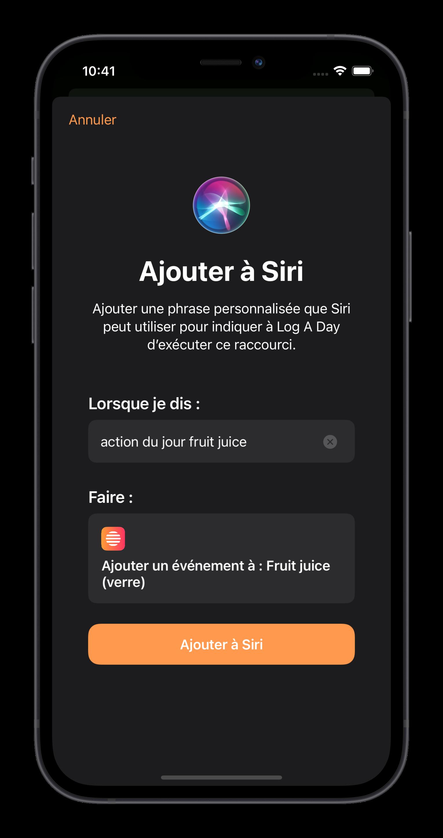 Actions Du Jour ajouter à Siri