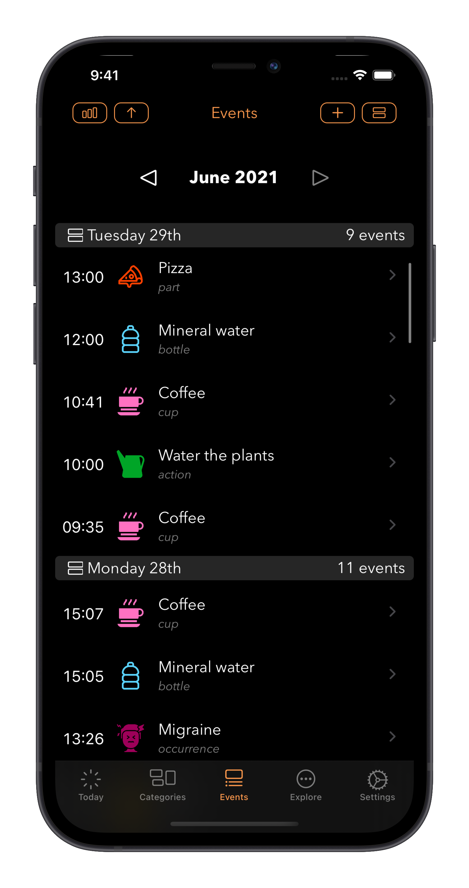 Log A Day the Events tab